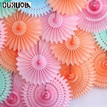 Paper Fans 5pcs 20cm Wedding Mermaid Party  Decoration  Tissue Paper Cut-out For Home Decorations Pinwheels Hanging Flower