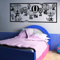 Vinyl Wall Decal Sticker Hot Air Balloon Zoo #5057