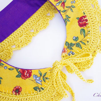 Collar Necklace Yellow Handmade crochet Peter Pan Collar Necklace French fabric