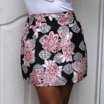 ON SALE Black and Red Floral Mini Skirt with Two by LoNaDesign