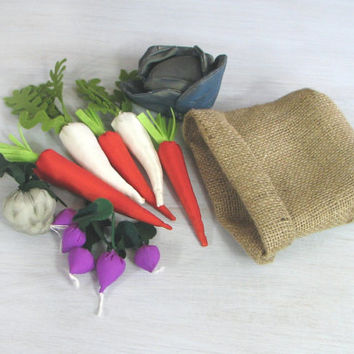 Textile Vegetables Burlap Sack Toy Fabric Veggies For Kids Small Cook Small Seller Pretend Food Carrots Parsnips Celeriac Radishes Cabbage