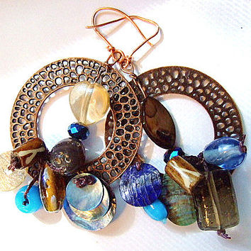 Free Form Earrings, Gift for Her, Handmade Jewelry on Etsy, Shell, MOP, Dangle, OOAK, Birthday, Unique Gifts, Etsy Earrings, Women's Etsy
