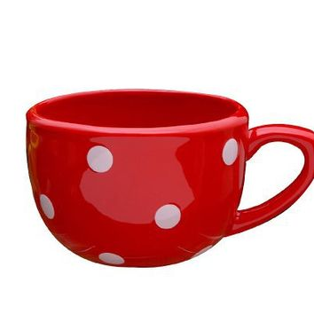 Terramoto Ceramic Polka Dots Soup Mug, 16-Ounce, White on Red