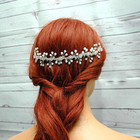 Wedding Headpiece, Pearl Bridal Crown Halo, Crystal Bridal Tiara, Pearl Wedding Wreath. Silver Crystal Headpiece, Pearl Hair Vine