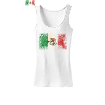 Distressed Mexican Flag Womens Tank Top