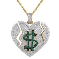 Iced Out Broken Heart Dollar Cash Love Pendant Chain