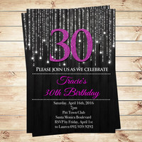 Elegant Purple and Black 30th Birthday Party Silver Glitter  Birthday, Editable Invitation 30th Party invitations, DIY Party Invitation