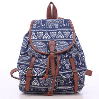 Blue Elephant Travel Bag Canvas Lightweight College Backpack