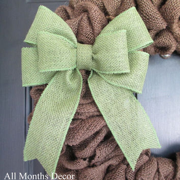 "8"" Burlap Bow, DIY Wreath, Home Door Porch Decor, Wedding, Floral, Spring, Year Round, Holiday, Curtain Ties"