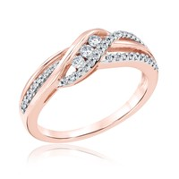 Round Diamond Twist Fashion Ring 1/4ctw