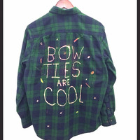 "Doctor Who Shirt - ""Bow Ties Are Cool"" Flannel Blackwatch Plaid Shirt - Hand Dyed"