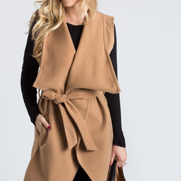Ivy Sleeveless Camel Coat with Waist Tie