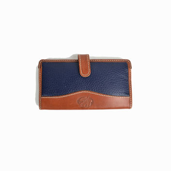 Vintage Maple Leaf Wallet in Navy Blue & Brown Leather / Leather Wallet