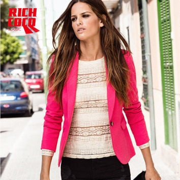 Slim Long Sleeve Button Business Casual Suit Outerwear Jacket a13236