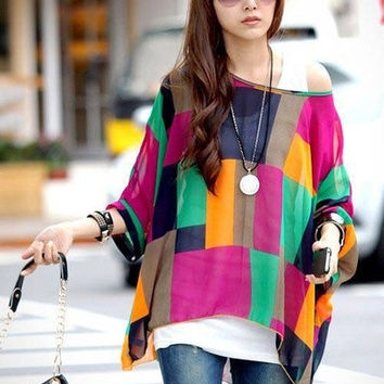 Women's Loose Printed Bohemian Tops Fashion Plus Size Chiffon Blouse For Women Summer New Style Blouse