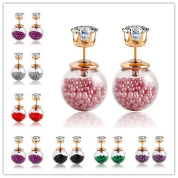 Cheap Crystal Stud Earrings Candy Color Small Beads Two Side Double Ball Pearls Earrings For Women = 1958179780