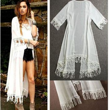 DCCKIX3 Women Summer Tassels Cover Up Beach Long Shirt Dress Lace Crochet Swimwear Chiffon Clothes