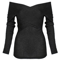 Black Long Sleeve Knitted Jumper