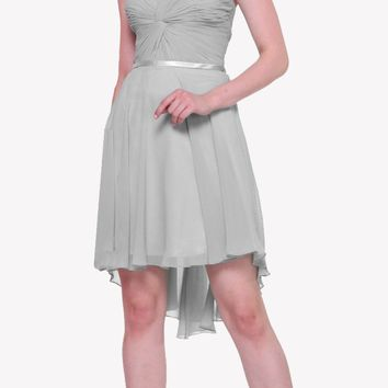 Short Twisted Bodice Chiffon Silver Bridesmaid Dress Strapless