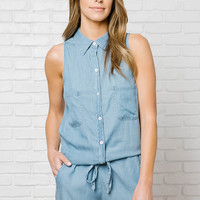 Mya Chambray Romper-FINAL SALE
