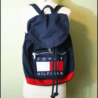 Vintage '90s GRUNGE americana Tommy Hilfiger Backpack// Beach Bag