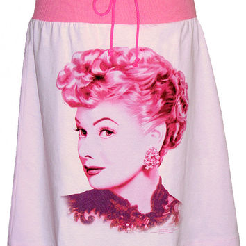 I Love Lucy Lucille Ball Portrait Pink T-Shirt Drawstring Skirt