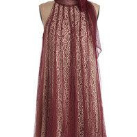 Ryu Vintage Inspired Mid-length Sleeveless Tent Time and Grace Dress in Merlot