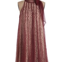Vintage Inspired Mid-length Sleeveless Tent Time and Grace Dress in Merlot