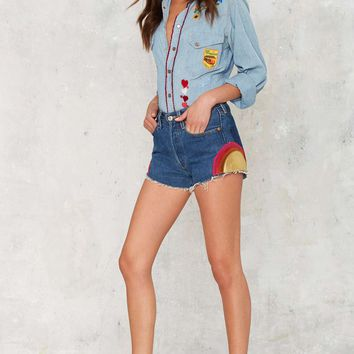 Vintage Embroider Your Heart Chambray Shirt