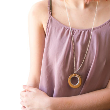 Royal Gold & Silver Wooden Donut Pendant| Long Golden Chain Statement Necklace| Wire Wrapped Donut Necklace| Rustic Boho