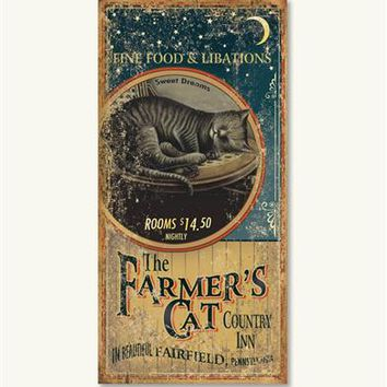 Farmer'S Cat Country Inn Sign - Cat Sign, Wood Wall Sign