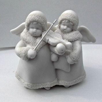 Bisque Snow Angels Vintage Figurines Playing Violin and Singing