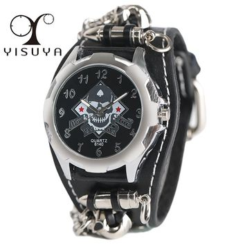 Gothic Style Creative Watch Men's Rock Punk Cuff Bullet Chain Quartz Clock Cool Skull