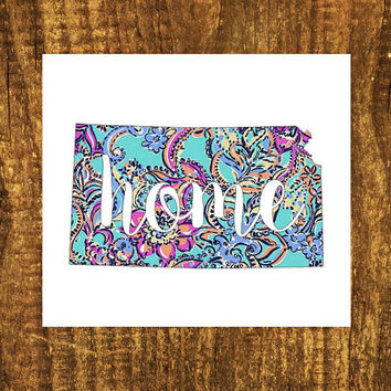 LILLY PULITZER Kansas Home Decal | Kansas State Decal | Homestate Decals | Love Sticker | Love Decal  | Car Decal | Car | Bumper | 108