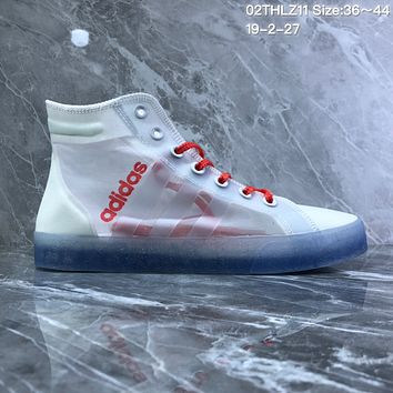 DCCK2 A797 Adidas Daily Team Air permeable mesh yarn crystal transparent bottom trendy slab shoes White Red