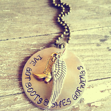 Hand Stamped Aluminum and Brass Necklace with Cowboys and Angels Lyrics