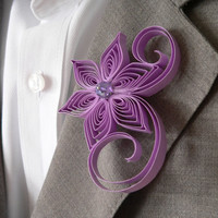 Lilac Boutonniere, Lilac Buttonhole, Light Purple Wedding Boutonniere, Boutonniere for Wedding, Violet Tulip Wedding