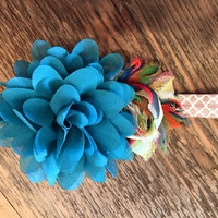 Baby Headband Turquoise & Multicolored Double Flower with Khaki Band
