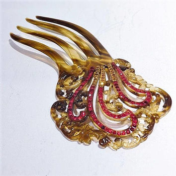 Antique Hair Comb 1900s Art Nouveau Victorian Sidecomb Faux Tortoise Shell Celluloid Comb Ruby Red Topaz Yellow Rhinestone Hair Comb Wedding