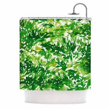 "Ebi Emporium ""In The Meadow 1 - Green White "" Abstract Painting Shower Curtain"