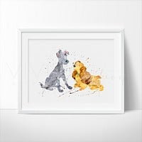 Lady and the Tramp Watercolor Art Print