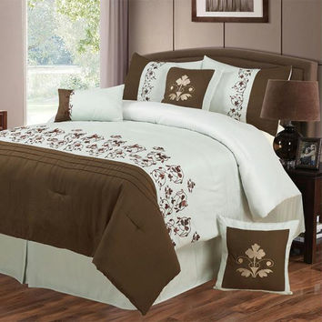 Lavish Home Hannah 7 Piece Embroidered Comforter Set - King