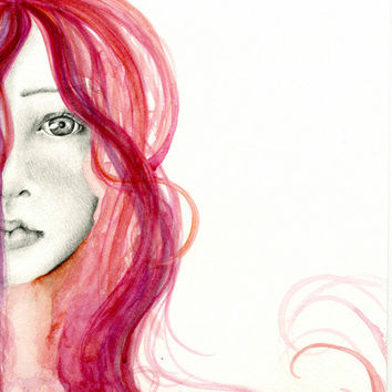 Water Color Painting Fine Art Giclee Print of my Original Watercolor Abstract Painting Portrait Beautiful Face Women Home Decor Wall Art