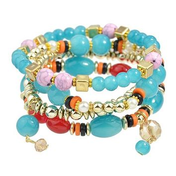 Ethnic 4pcs Colorful Beads and Resin Strand Bracelets sets