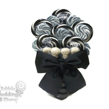 Black and Silver Skull Lollipop Wedding Bouquet, Bridal Bouquet, Black Bouquet, wedding, Candy Wedding, Candy Bouquet, Skull, Skull Bouquet