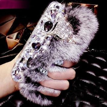 100% Handmade Bling Crystal Fox Rhinestone Genuine Rabbit Fur Case for iPhone 5s 6 6s Plus Samsung Galaxy S6-170928
