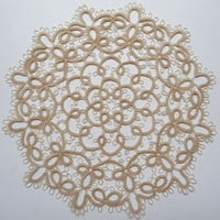 Tatting Handcrafted Round Doily  ivory - for Her - Home decor - Housewarming