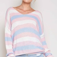 Lazy Days Light Pink Blue White Horizontal Stripe Pattern Long Sleeve V Neck Twist Back Pullover Sweater - Sold Out