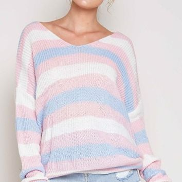 Lazy Days Light Pink Blue White Horizontal Stripe Pattern Long Sleeve V Neck Twist Back Pullover Sweater