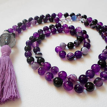Knotted Gemstones Japa Mala, Purple Agate Mantra 108 Beads Necklace, Prayer Healing necklace, 108 Yoga mala Jewelry, Meditation Beads Mala
